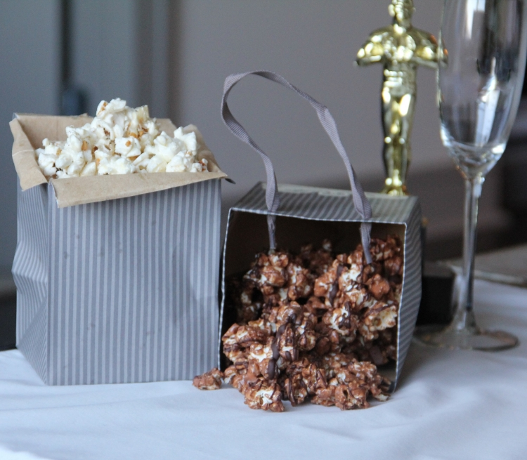 Garlicky Parmesan Popcorn and Peanut Butter Cup Popcorn... perfect Oscar Party treats
