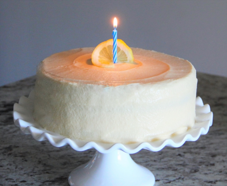 Lemon Cake with slightly sweet Honey Buttercream Frosting