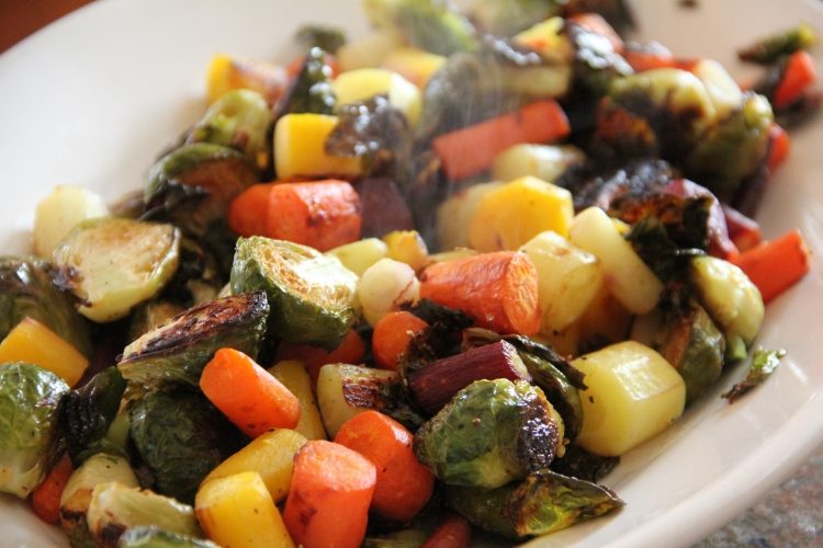 Roasted Brussel Sprouts and Heirloom Carrots
