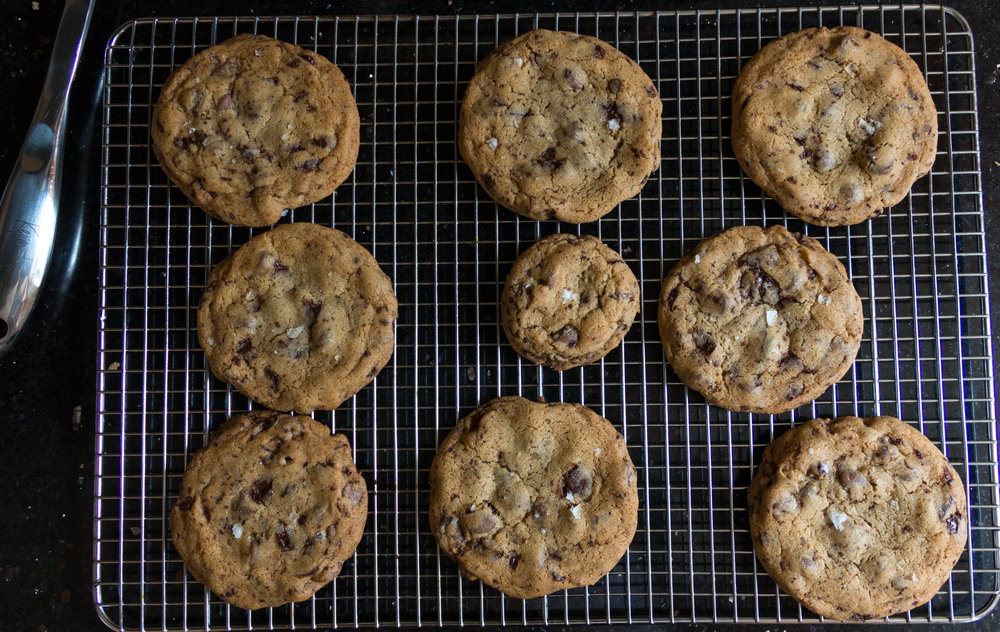 Professional Tip: always make one small cookie for a chef's taste sample. I ate the whole rack of Salted Chocolate Chip Cookies, but just saying this might help you with protion control.