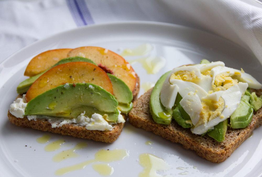 Peach & Ricotta Avocado Toast (left)/ Egg & Avocado Toast (right)