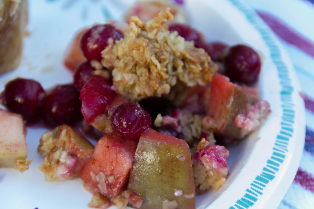 New England Fruit Crumble... Apples, Pears and Cranberries with a gluten free crumble topping