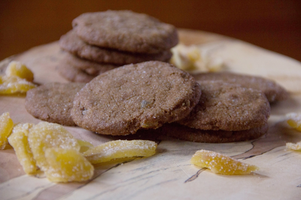 Crystallized Ginger Molasses Cookies... chewy, spicy, sweet, crunchy... perfect recipe