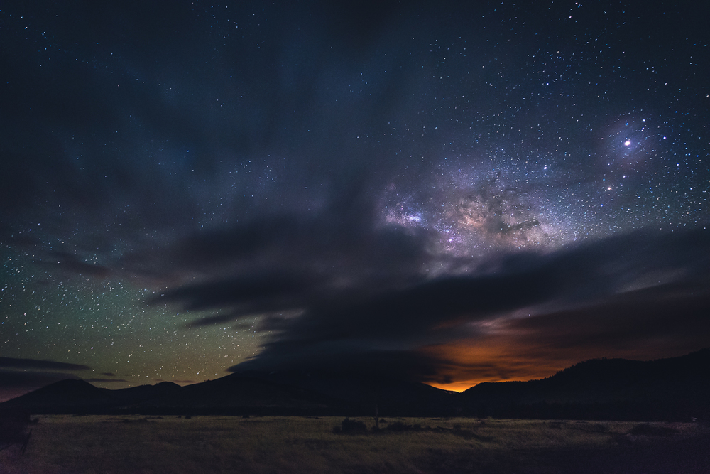 The galactic core peaking through before clouds started to take over the skies over Humphrey's Peak