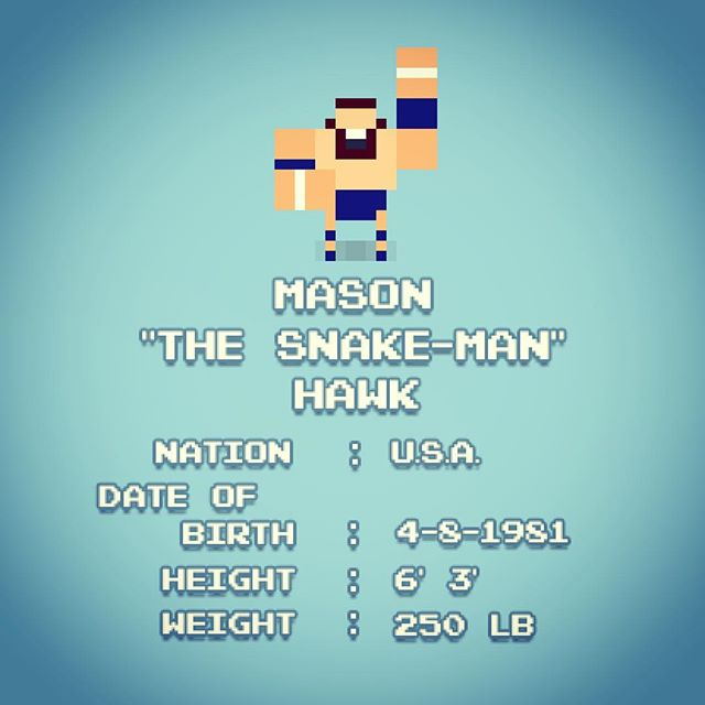 "Todays #wrestlerwednesday is RUMBLEFEST's main character and resident #babyface ... Mason ""The Snake-Man"" Haw! Take control of the Snake-Man in the early access version of #rumblefest now on iOS (US and Norway)  #picoftheday #pixelart #pixelartgame #videogames  #wrestlingvideogames #defold #nesprowrestling #we #love #prowrestling #pacman #snake"