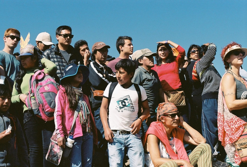 (June 24th 2015) Locals and tourists gather at the top of Sacsayhuaman to watch the ceremonial events of Inti Ryami, the Festival of the Sun, in Cuzco, Peru.