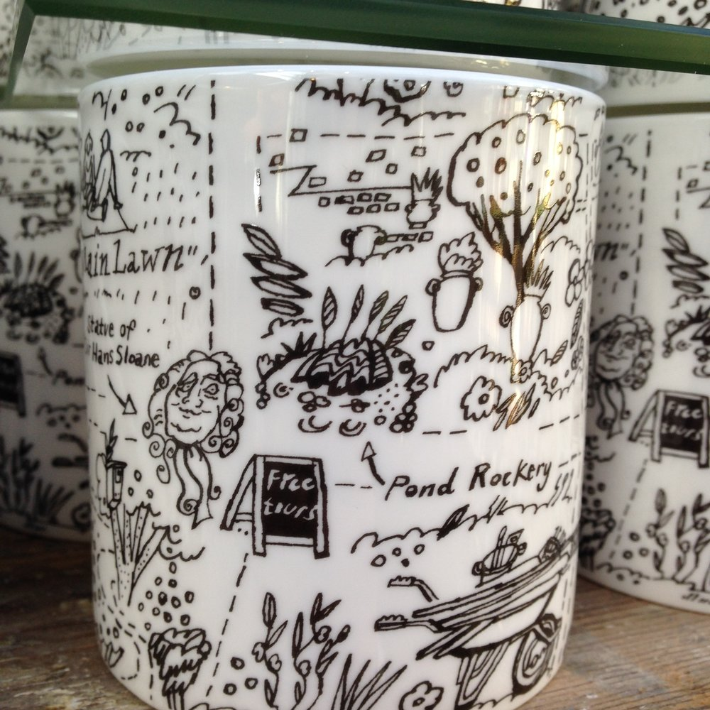 Fine bone china mugs available in the Garden shop.