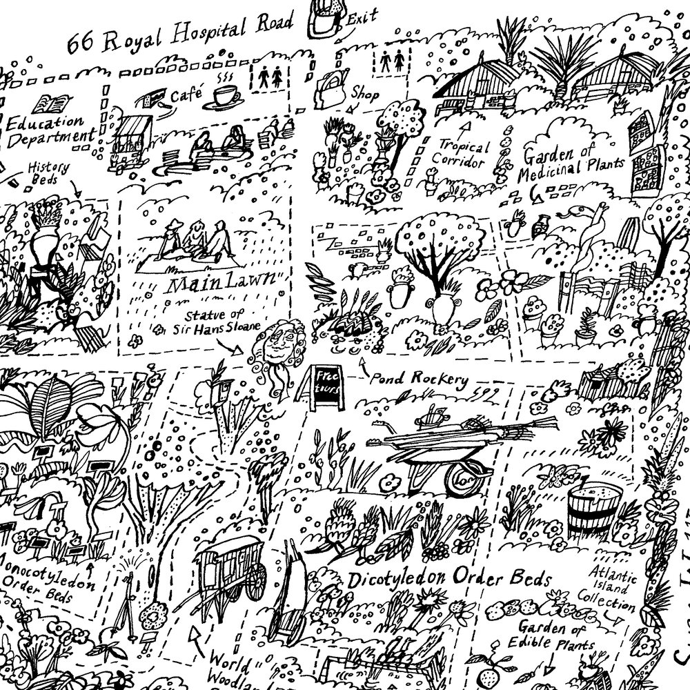 A close up from the map. The design features elements of the Garden which I sketched first on location and then worked into the finished art.