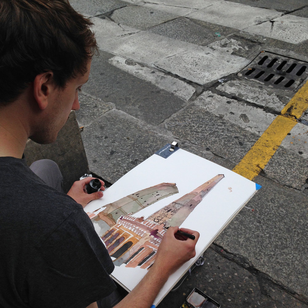 Drawing in Bologna.