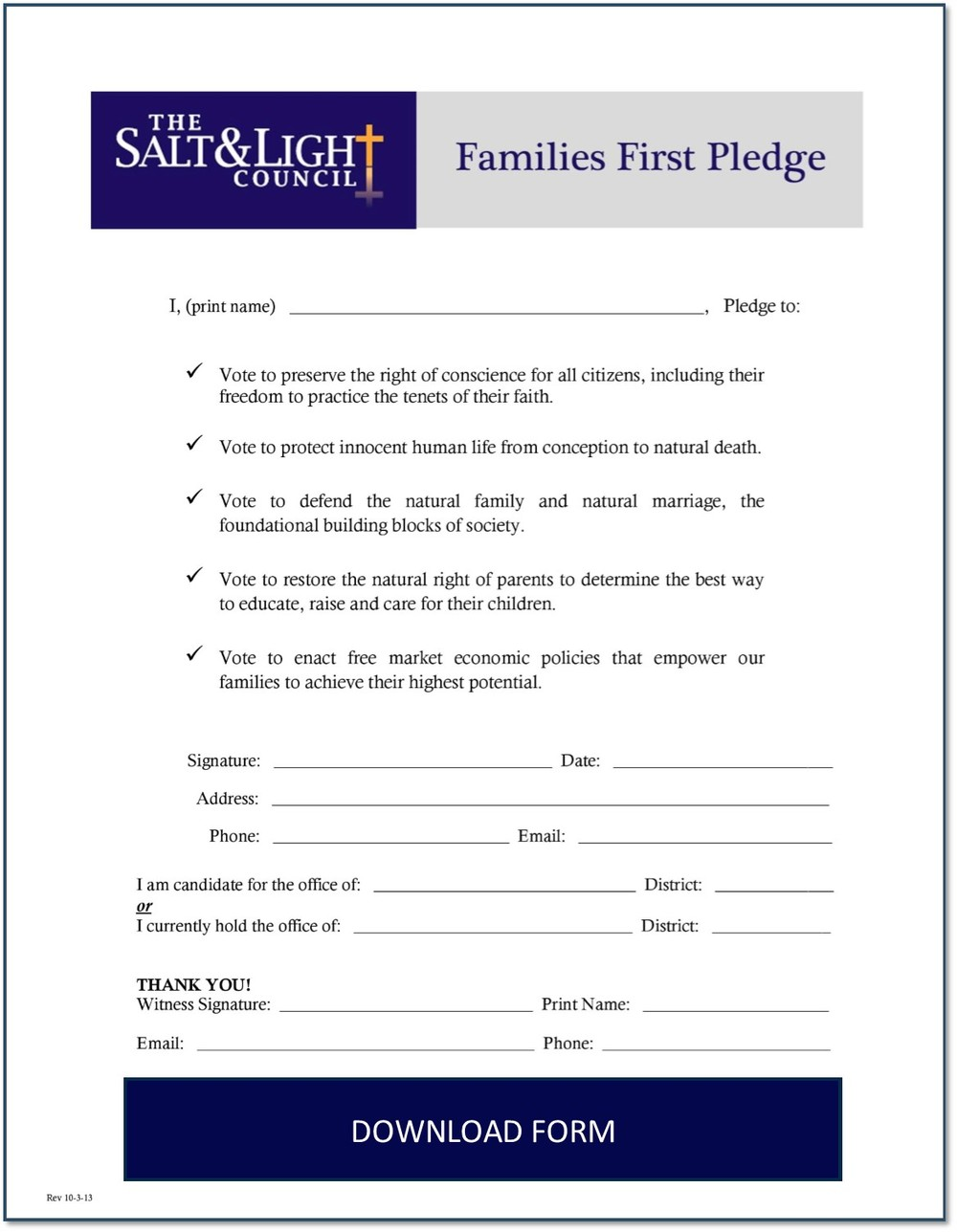 Families First Pledge