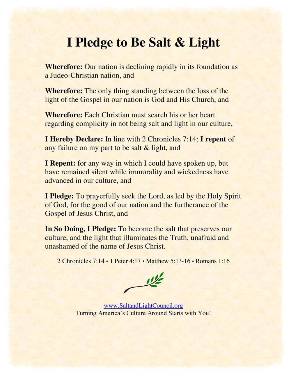 The Pledge to be Salt & Light
