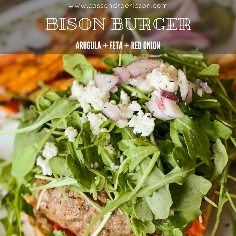 burger bison feta cheese onion arugula cassandra ericson