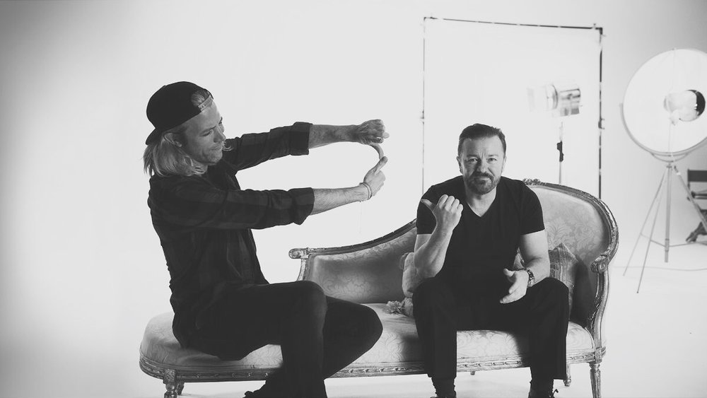 Director Sam Washington and Ricky Gervais