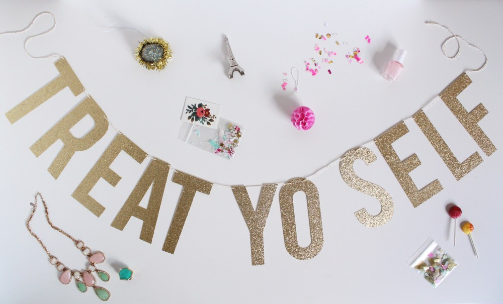 Look at all these ways to treat yo self: jewelry, manicures, travel, throwing a party (Idk this makes me think of a party). [Source]