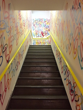 The stairs up to Studio B. Are these the most Instagrammed stairs in NYC? Maybe Y7 has them beat.