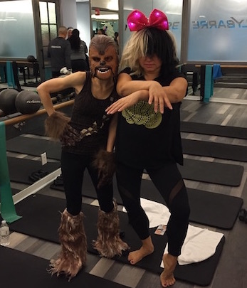 Just Chewbacca (me) and SIA (obviously not the real SIA) at a Halloween-themed fitness class. The mask roars.