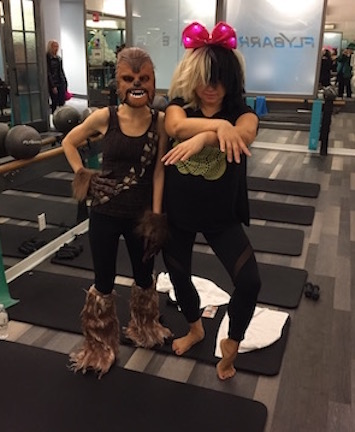 Flybarre Halloween 2016. Sometimes I workout because it means dressing up. That's me, aka Chewy, on the left.