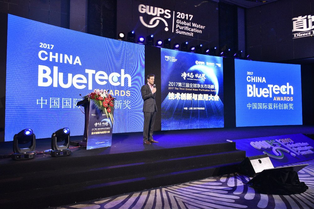 Mandarin Environment's Principal Consultant, John Robinson, welcoming guests to the 2017 China BlueTech Awards.