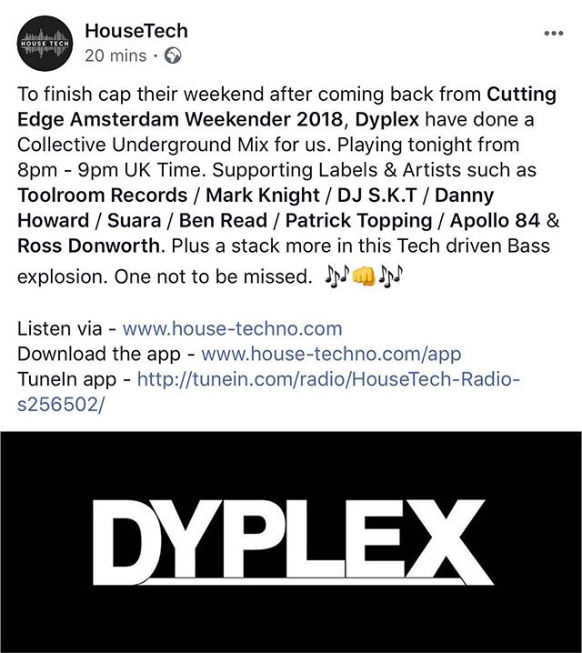 Tonight from 8pm tune in! Big thanks to @housetechradio 📻 🙏💙. . . . . #humbled #radio #tech #housetech #weekendisnotoveryet #house #housemusic #djduo #dj #djlife #radiostation #basshouse #bass @barry.palmer1969 🙏🙏