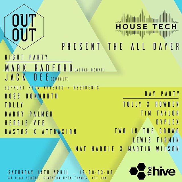 THIS SATURDAY! 🕺🏼🎉 Head over to @out_out_promo & @housetechradio for tickets. . . . . . . #buzzing #party #dayparty #house #housemusic #tech #techhouse #tunes #dance #london #excited #saturday #weekend #cantwait