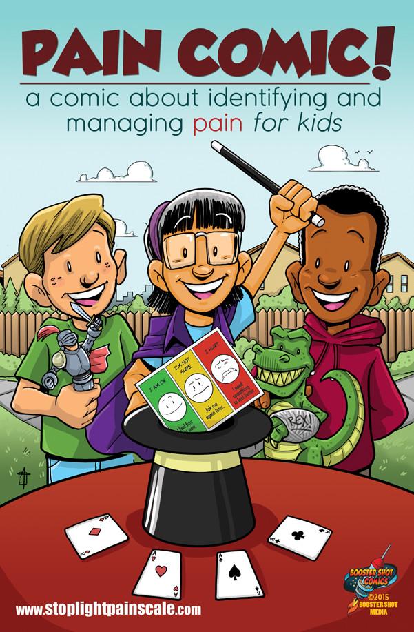 Comic book explaining the stoplight pain scale