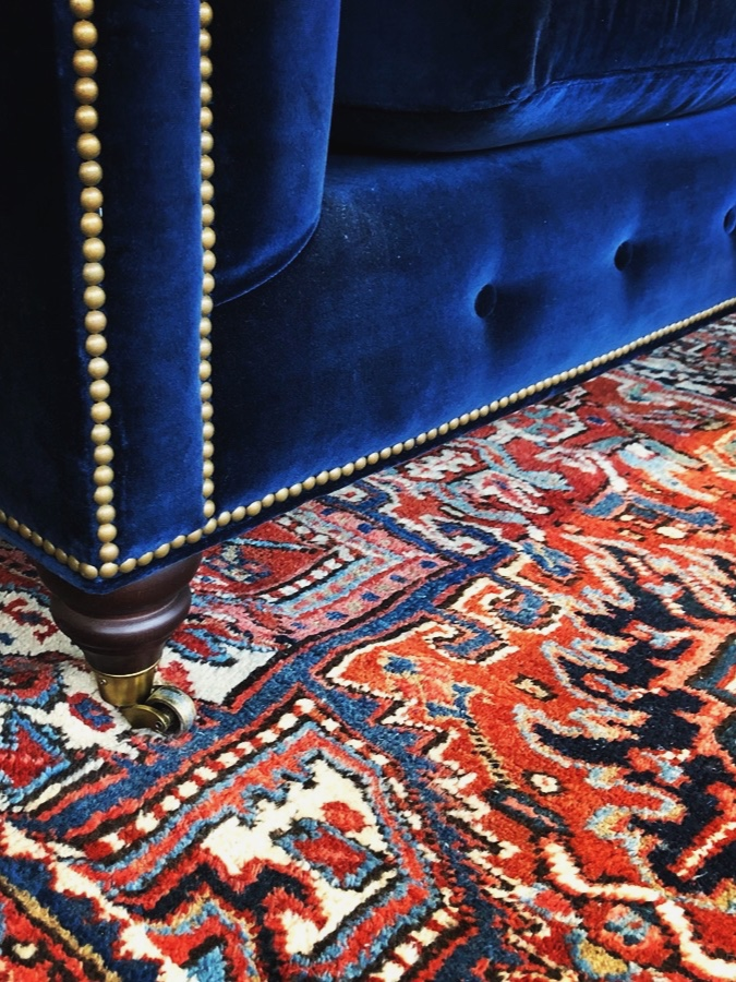 Blue Chesterfield Sofa on Persian Rug 1