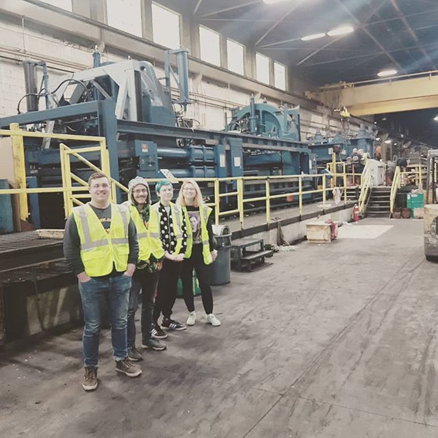 Brought some sculpture students to tour a coil and slitting operation at Ratner Steel. Who has seen that much treadplate before? (44,000lbs) They very genorously donated several tons of steel plate and sheet tails! (they cut off upto 44ft of damaged and dented rolls) #steelart #steelcoils #steelplate #steelstretchers @gustavus_art