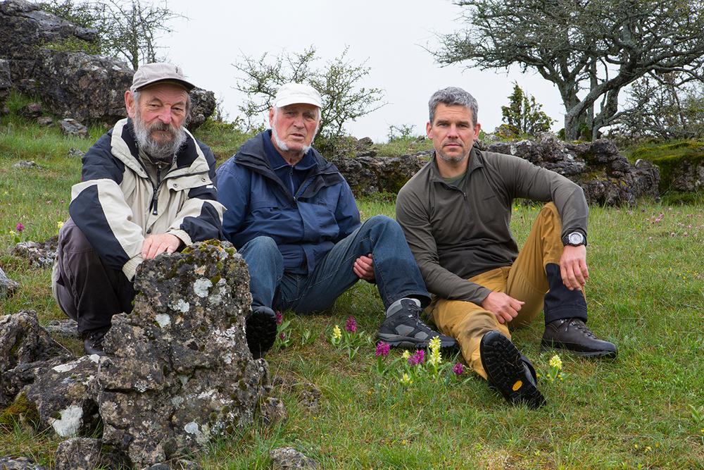 Prof. Hagen Herdam,  Dr. Erhard Weit  mit mir  auf Orchideen-Tour  in den Cevennen  bei Adam & Eva