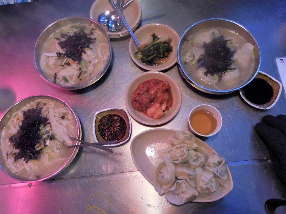 Fresh noodle soup and dumplings