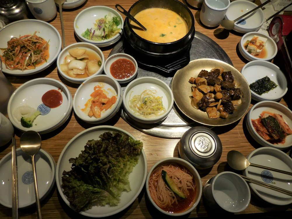 So many dishes and also Galbi in the middle right