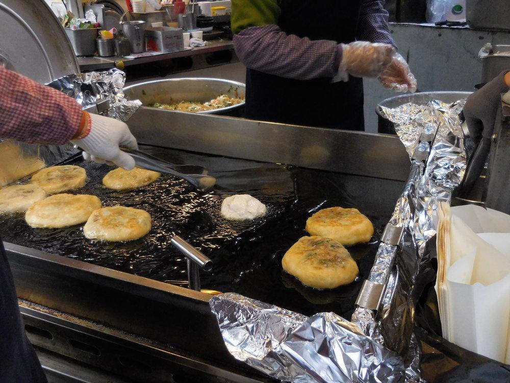 Pancake that's stuffed, yes stuffed, with japchae!!