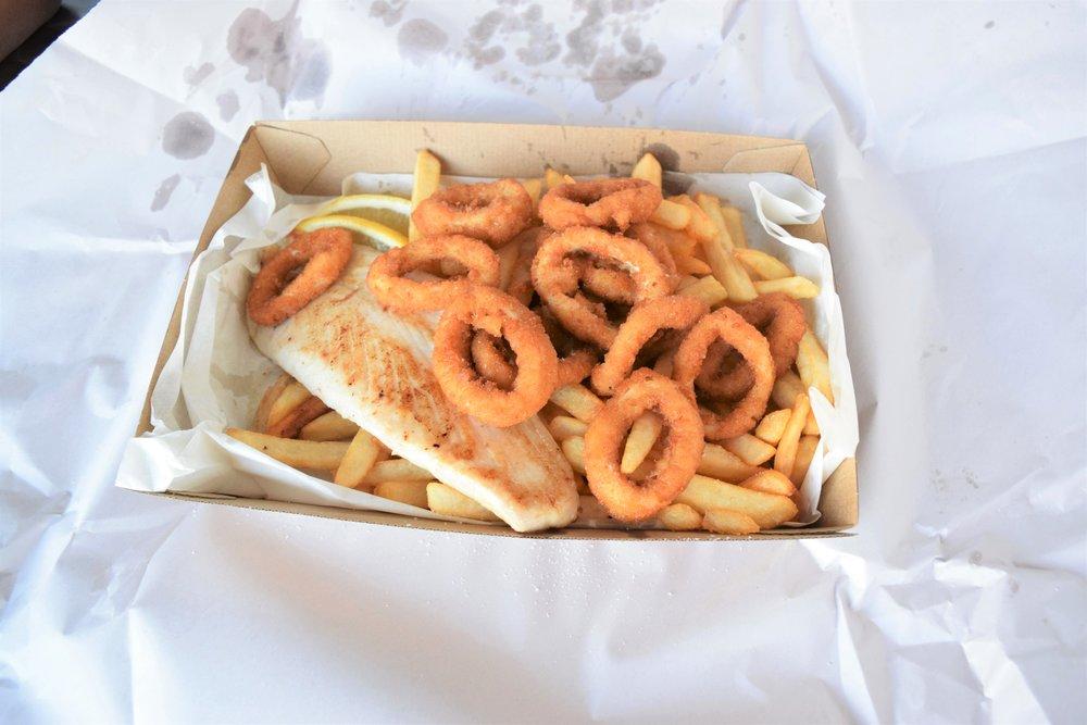 Grilled Baramundi, calamari, and chips!