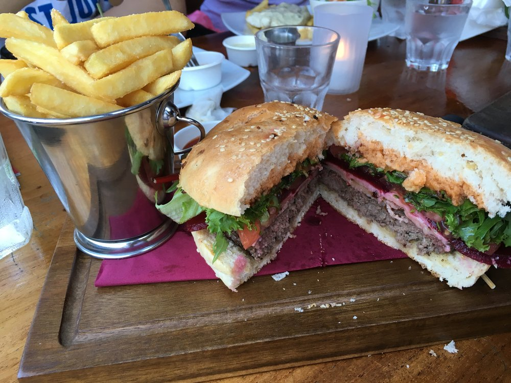 Beetroot Burger - the beetroot adds a nice sweet touch to the burger! Loved