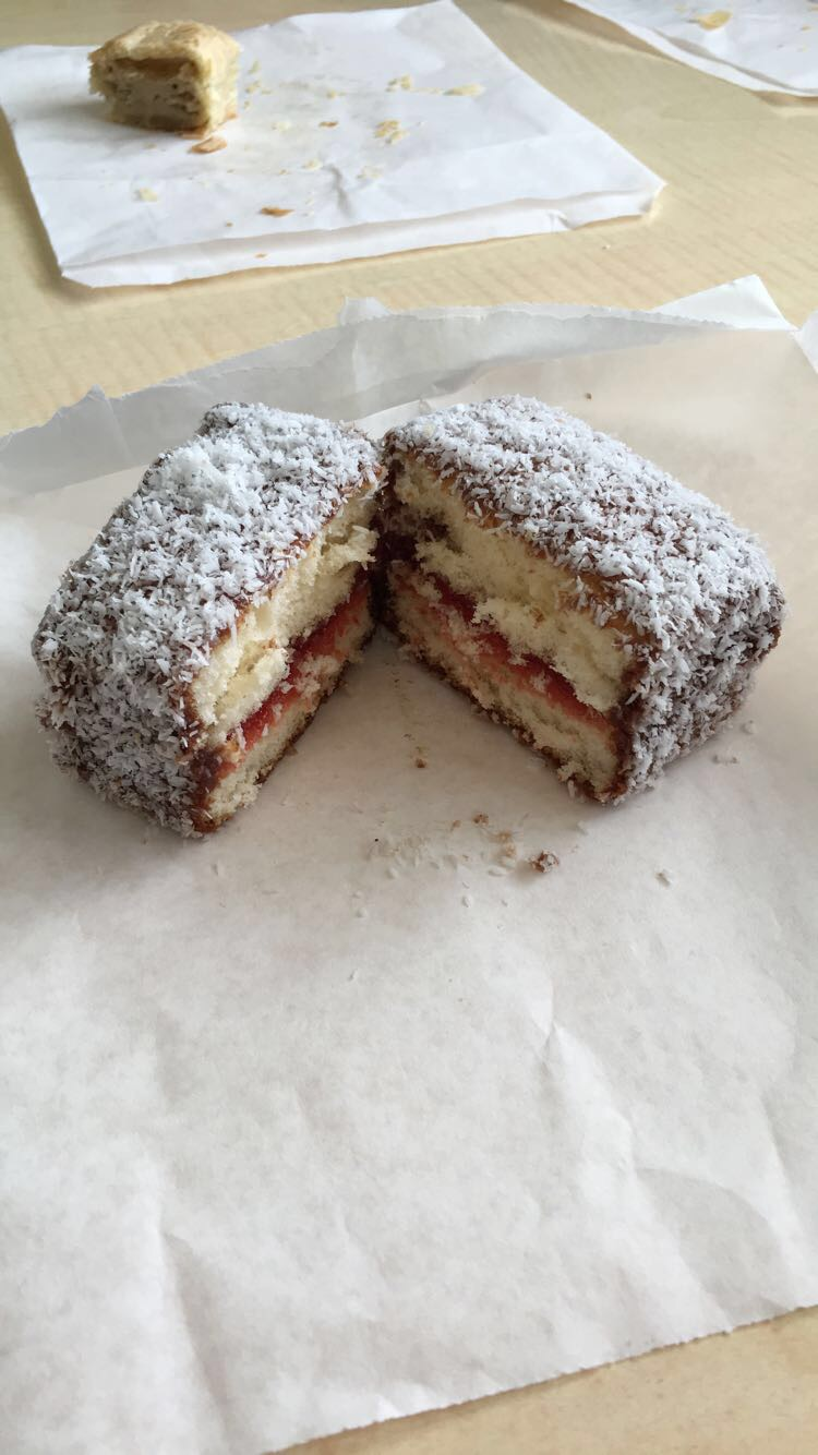 Lamington - yellow cake with jelly and coconut