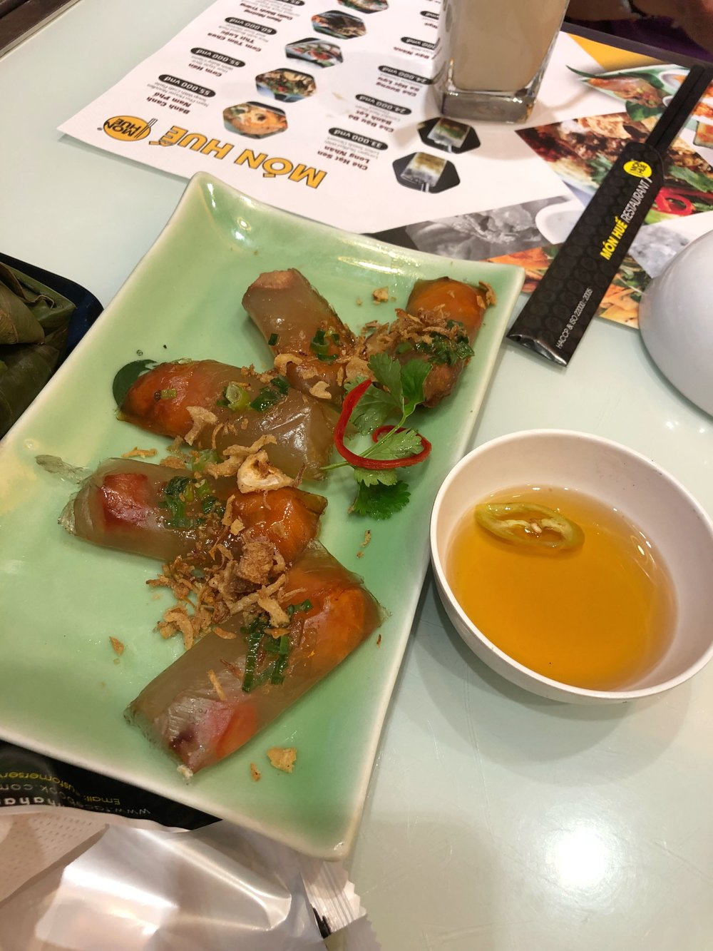 Rice paper wrapped with meat
