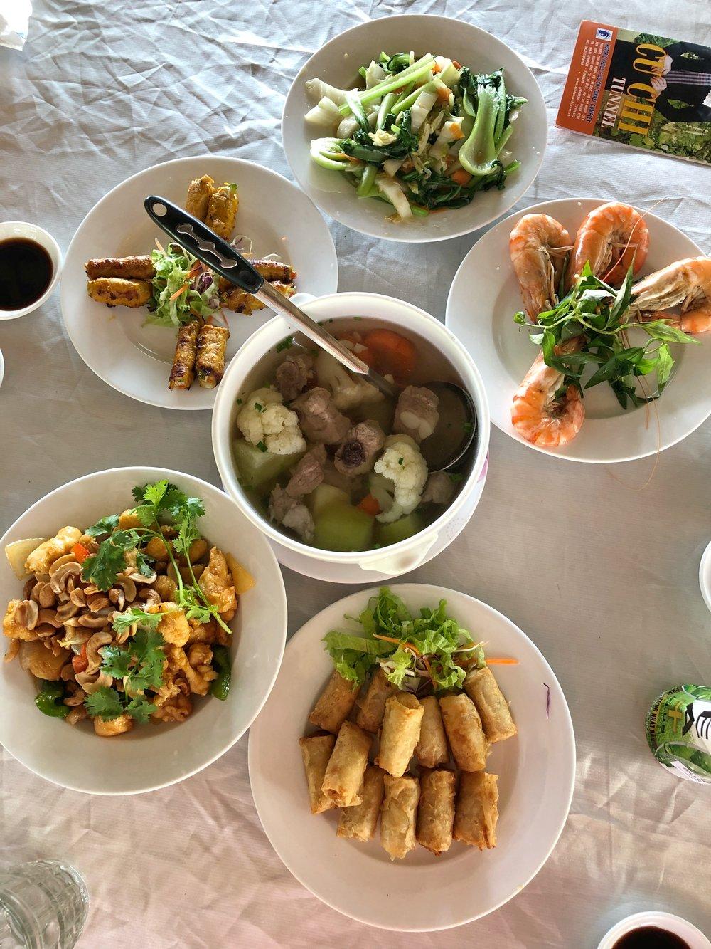 Chicken, veggies, prawns, soup