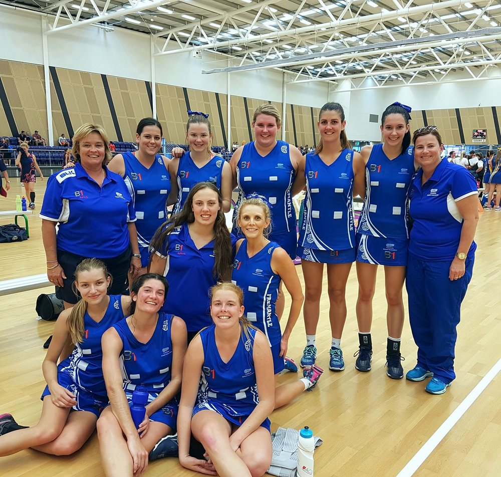 Our 2017 SA1 side representing Fremantle Netball Association at the Association Championships weekend 3rd to 5th of June 2017, pictured here after they won their division.  Back L-R: Sue Smith (Manager), Sasha Greaney, Taylor Spalding, Caitlin Dirou, Stacey Montgomery, Eliza Vlasich, Michelle Spalding (Coach) Middle L-R: Lizzy Hughes, Sherie Jones Front L-R: Holly McMurray, Nicola Vester, Erin Smith