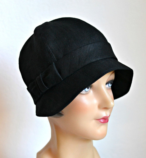 1e808821f69f1c Black Linen Cloche with Bow - 1920s Cloche Hat - Made to Order