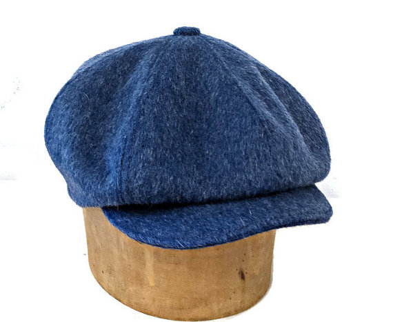 Newsboy Cap in Blue Mohair Wool - Made to Order - Newsboy Hat ad4842a7d65