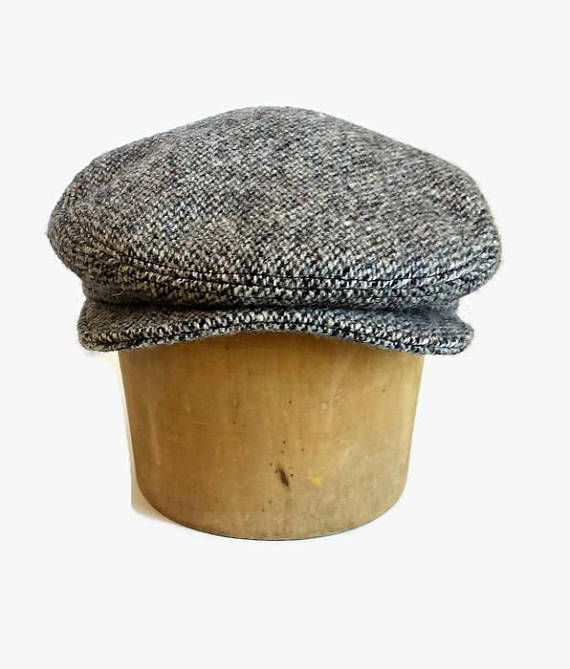Driving Cap in Vintage Harris Tweed - Men s Driving Cap - Custom Flat Cap -  Herringbone Tweed Cap a889917a65e