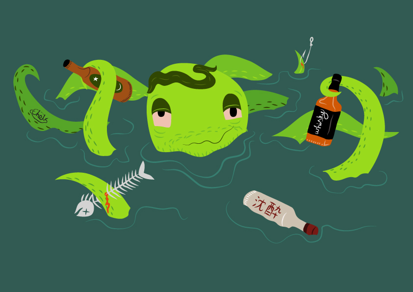 DRUNKEN OCTO, SEA POLLUTION