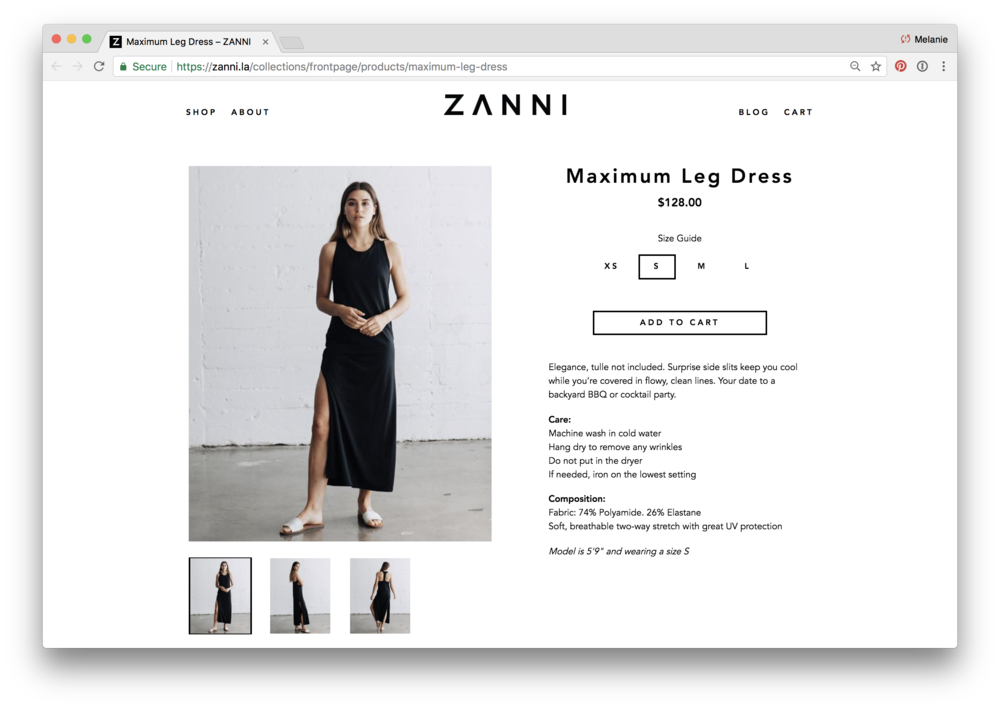 Product description for ZANNI