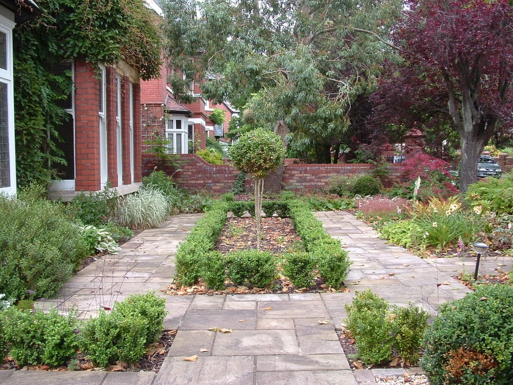 A  traditionally formal front garden to a Victorian home in Penarth