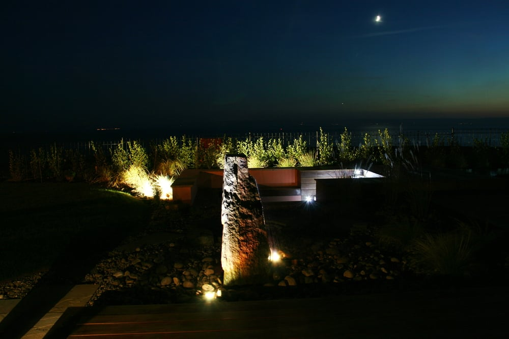 Lighting offers another dimension to the garden, at night it comes alive, vibrant colour and texture replace the gloom.