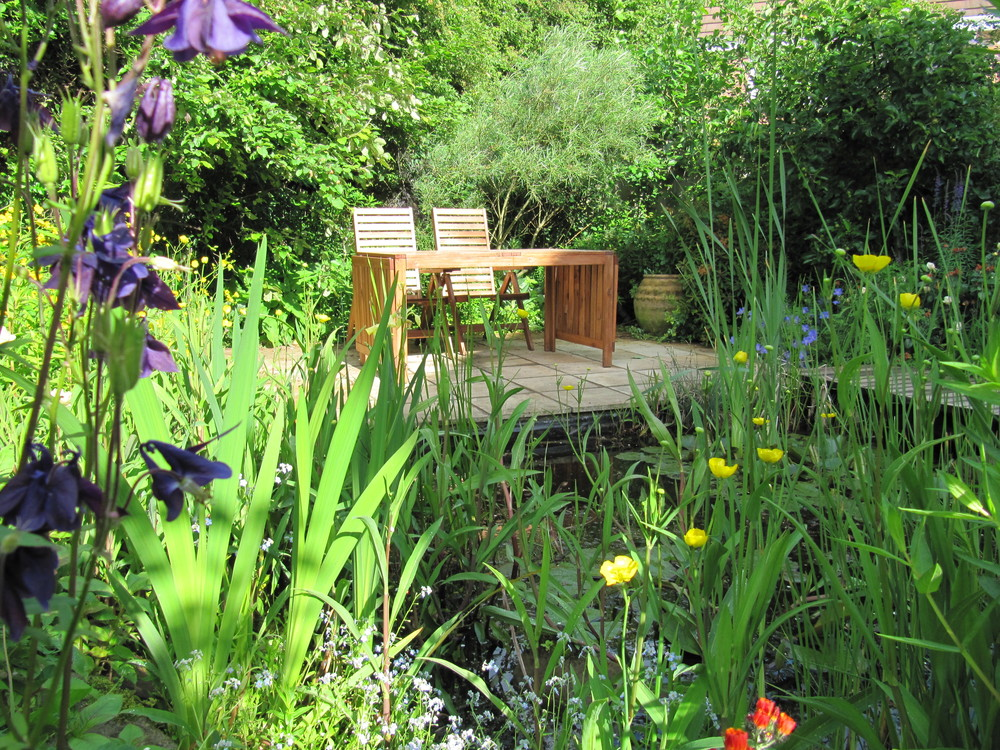 Who would guess that this tranquil oasis is at the rear of a very ordinary Wimpey house