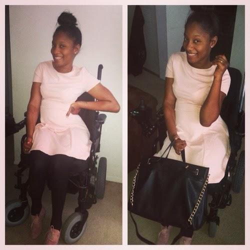 Two photos, side by side, of smiling African-American young woman in a wheelchair, wearing light pink top and dark tights