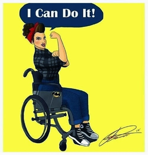 "Pinup style woman in wheelchair, flexing her right arm, with word balloon saying ""I Can Do It!"""