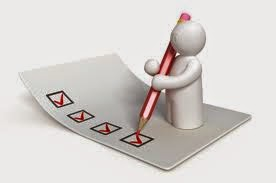 illustration of a stick figure standing on a paper survey, using giant pen to check survey boxes