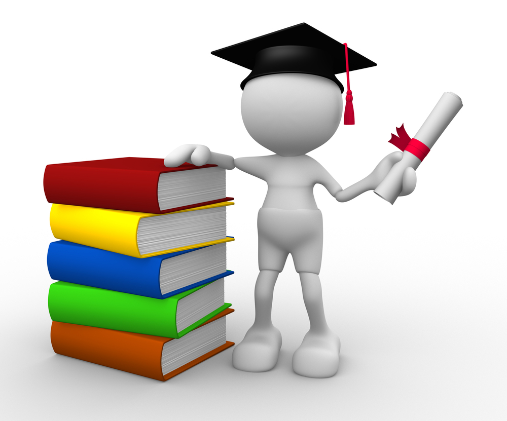 stick figure graduate standing next to stack of books