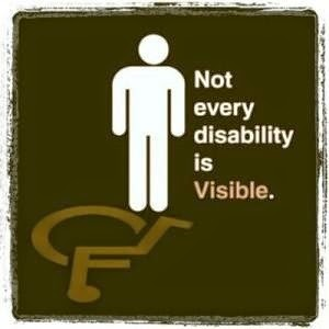 Not every disability is visible. White upright stick figure casting a shadow in the form of the wheelchair symbol